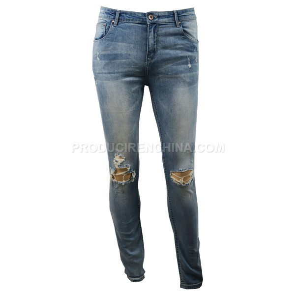 Jeans de hombre, pantalón con agujeros, pantalón moderno que se puede fabricar en China
