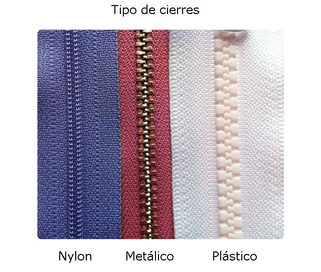 Tipos de cierres: nylon, metalico, plastico