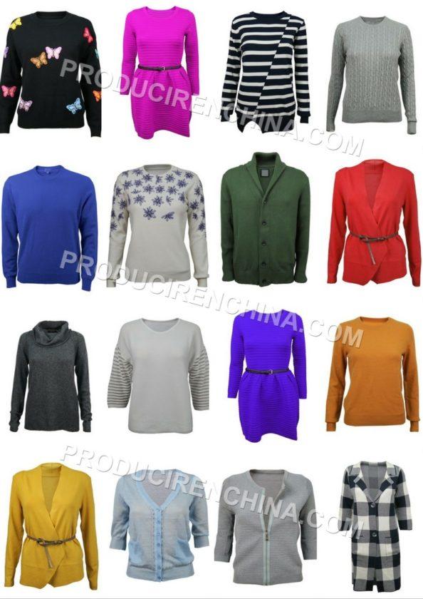 producción de suéters, fabricación de puloveres, materiales sintéticos, materiales naturales