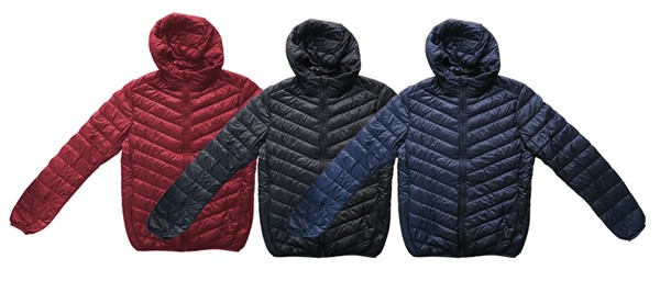 Men down jackets manufactured in China according to customer's requirements.