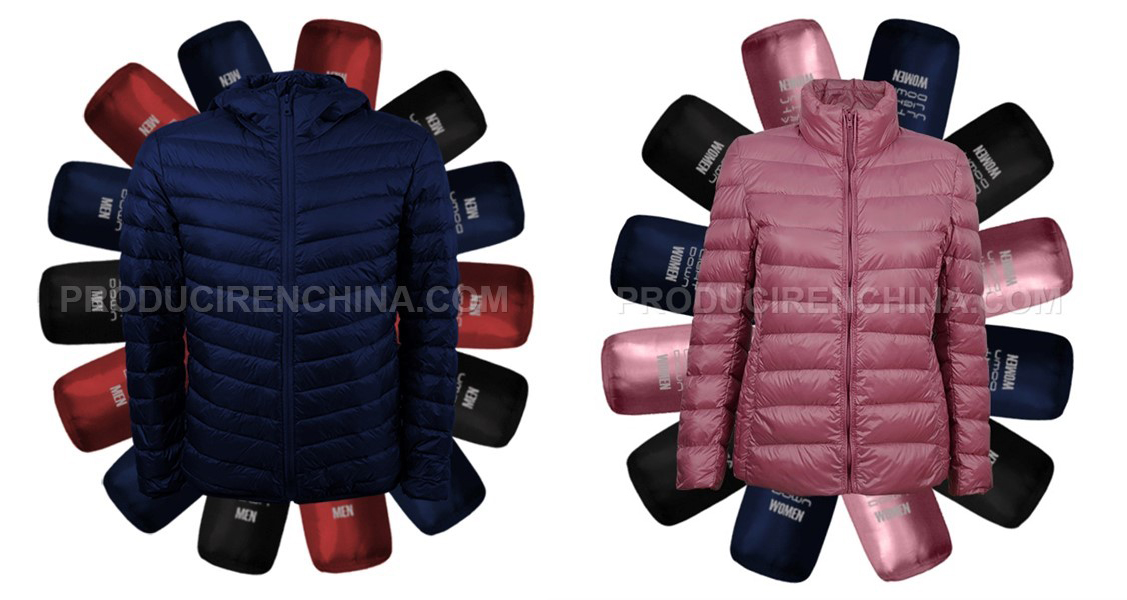 Marketing material elaborated by CTS to promote purchased down jackets manufactured in China.