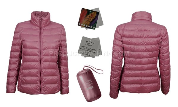 Sample of marketing material elaborated by CTS to promote purchased down jackets manufactured in China.