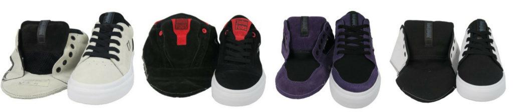 Muestras de zapatillas vulcanizadas para la marca John Foos. Las capelladas originales a la izquierda y las zapatillas producidas en China a la derecha.