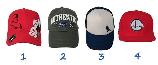 Distintos apliques que se pueden usar para diseñar gorras. Impresiones de logo en 3D, parches, logos bordados, escudos de goma, desgastes y mucho más.