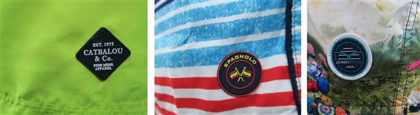 Muestras de logos en mallas producidas en China. El logo puede ser bordado, en forma de un escudo de goma o un escudo de tela común.