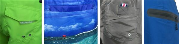 Muestras de bolsillos con una capa de tela y velcro (foto 1), simples abiertos (foto 2, los más económicos), simples con velcro (foto 3) y termofusionados sin costura (foto 4, los más caros).