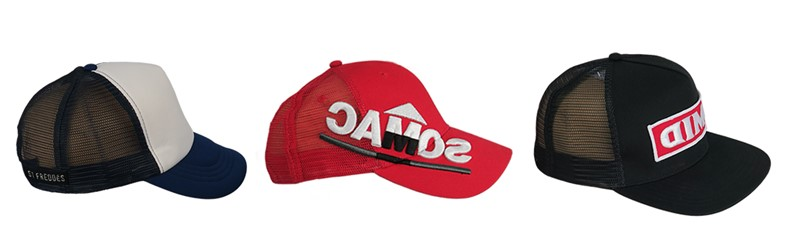 Distintos tipos de gorras con la red de poliester en la parte trasera. Fabricamos todos estos tipos de gorras en China a medida.