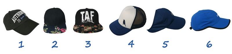 Distintos tipos de gorras que existen en el mercado. Fabricamos todos estos modelos en China a medida para las marcas internacionales o empresarios individuales.